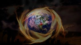 A global burning world, polluted by CO2 emissions, wars and pollution of the oceans