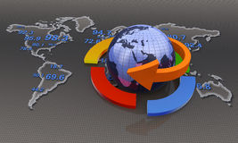 Global business. Globe with business arrows. Financial data Stock Photo