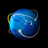 Global Business. A network of interconnected light hotspots around the globe Royalty Free Stock Photography