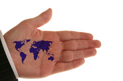 Global business. The world is in your palm royalty free stock photos