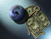 Global Business. The Globe, Money, Keys, $ sign shadow Royalty Free Illustration