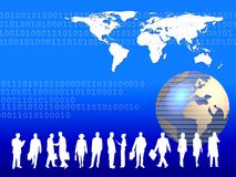 Global Business. A metaphorical illustrated background showing a worldmap, globe, business people on a design with binary code, depicting business around the Stock Image