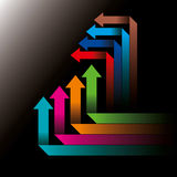 Global business arrow Vector illustration. On black background Royalty Free Stock Photo
