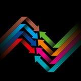 Global business arrow Vector illustration. On black background Stock Photo