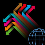 Global business arrow Vector illustration. On black background Royalty Free Stock Images
