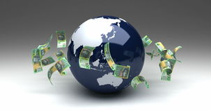 Global Business with Australian Dollars stock video footage