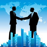 Global business background, with businessmen  handshaking Royalty Free Stock Images