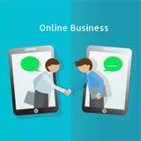 Global Business. Business man handshake through mobile phone. E-. Commerce concept. Flat vector illustration Stock Photos