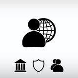 Global business, business man icon, vector illustration. Flat de Royalty Free Stock Photos