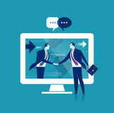 Global Business. The businessmen shaking hands over internet. Business concept illustration Royalty Free Stock Photos