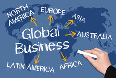 Global business chalkboard  Royalty Free Stock Image