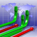 Global business charts. 3d green and red arrows going in different directions Stock Image