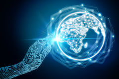 Global business and communication concept. Abstract digital hand pointing at glowing illuminated globe on dark background. Global business and communication Royalty Free Stock Photos