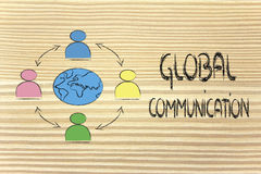 Global business communication. People interacting across the world, metaphor of global business communications, networks and collaboration Royalty Free Stock Photo