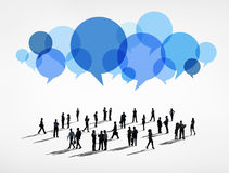 Global Business Communications with Speech Bubble Stock Photo