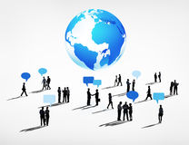 Global Business Communications with Speech Bubble Stock Image