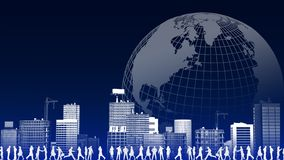 Global business Concept. Ebusiness illustration with people doing activity with citysacpe and globe background