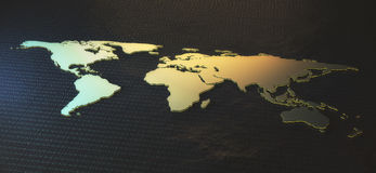 Global business concept. Abstract map on dark grid background. Global business concept. 3D Rendering Stock Photography