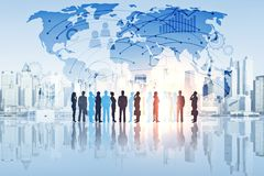 Global business concept. Businesspeople silhouettes on abstract blue waterfront city background with map and charts. Global business concept. 3D Rendering Stock Photography