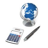 Global business. Concept of global business with calculator and globe, isolated on white background. Elements of this image furnished by NASA Royalty Free Stock Photography