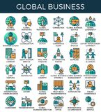 Global business concept icons. Global business concept detailed line icons set in modern line icon style for ui, ux, website, web, app graphic design Stock Photo