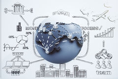 Global business concept with globe and drawn the plan Stock Photos