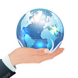 Global Business Concept. Hand with Earth in Realistic 3D style. Vector Template can be used for Cover, Brochure, Poster and Printing Advertising Stock Photography