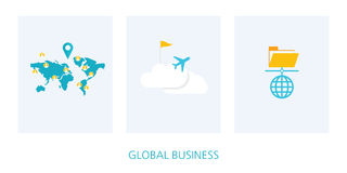Global business concept icon set Royalty Free Stock Images