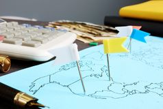 Global business. Map with flags and money. Global business concept. Map with flags and money stock image