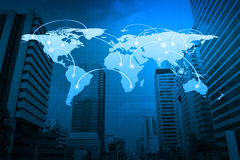 Global business connection concept on city, Elements of this ima Royalty Free Stock Images