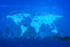 Global business connection concept on city, Elements of this ima Stock Image