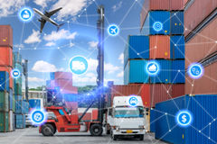 Global business connection technology interface global partner c. Onnection of Container Cargo freight truck for logistic import export background. Business Stock Photo