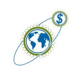 Global Business creative logo, unique vector symbol created with. Different elements. Global Financial System. World Economy Royalty Free Stock Photo