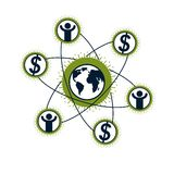 Global Business creative logo, unique vector symbol created with. Different elements. Global Financial System. World Economy Stock Image