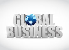 Global business 3d text illustration design Stock Photography