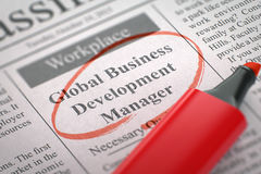 Global Business Development Manager Wanted. 3D. Royalty Free Stock Photo