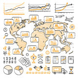 Global business doodle concept. Vector hand drawn sketch icons. Many factories around the world. Isolated on white background Stock Image