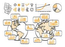 Global business doodle concept. Vector hand drawn sketch icons. Many factories around the world.  on white background Stock Images