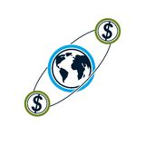 Global Business and E-Business creative logo, unique vector symb. Ol created with different elements. Global Financial System. World Economy Royalty Free Stock Photography
