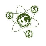 Global Business and E-Business creative logo, unique vector symb. Ol created with different elements. Global Financial System. World Economy Royalty Free Stock Image