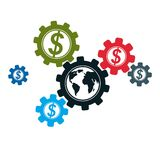 Global Business and E-Business creative logo, unique vector symb. Ol created with different elements. Global Financial System. World Economy Stock Photos