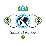 Global Business and E-Business creative logo, unique vector symb. Ol created with different elements. Global Financial System. World Economy Royalty Free Stock Images