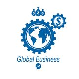 Global Business and E-Business creative logo, unique vector. Symbol created with different elements. Global Financial System. World Economy Royalty Free Stock Photo