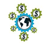 Global Business and E-Business creative logo, unique vector symb. Ol created with different elements. Global Financial System. World Economy Royalty Free Stock Photos