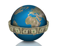 Global Business, earth, money. Earth with money on white background as a symbol for global business Royalty Free Stock Photos