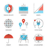 Global business elements line icons set. Thin line icons of worldwide corporate business, money growth chart, financial security, energy savings, company Stock Photo