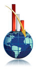 Global business falling bar graph over the globe. Illustration Royalty Free Stock Photography