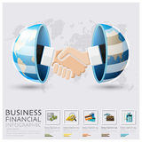 Global Business And Financial Handshake Infographic. Design Template Royalty Free Stock Images