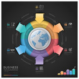 Global Business And Financial Infographic With Arrow Round Circl Stock Photo