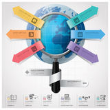 Global Business And Financial Infographic With Magnifying Glass. Arrow Round Circle Diagram Design Template Royalty Free Stock Image